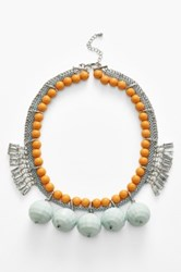 Berry Crystal Bauble Bib Necklace Blue