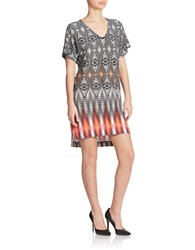 Maggy London Printed V Neck Shift Dress Sand Tangerine