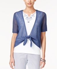 Alfred Dunner Layered Look Top Navy