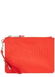 Moschino Bright Red Rubberised Leather Clutch