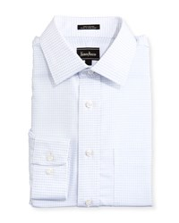 Neiman Marcus Classic Fit Regular Finish Square Pattern Dress Shirt White
