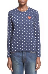 Comme Des Garcons Women's 'Play' Polka Dot Tee Navy White