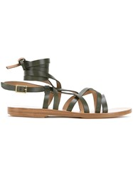 Scanlan Theodore Ankle Wrap Gladiator Sandals Green