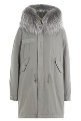 Mr And Mrs Italy Cotton Parka With Raccoon Fur Grey