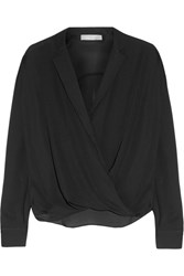 Vince Wrap Effect Silk Blouse Black