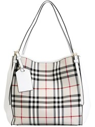 Burberry 'Canter' In Horseferry Check Tote White