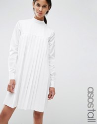 Asos Tall Long Sleeve Cotton Pleated Dress White