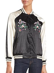 Saks Fifth Avenue Baseball Collar Jacket Black Cream