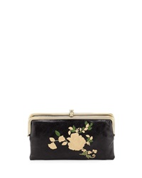 Hobo Lauren Embroidered Double Sided Leather Wallet Black