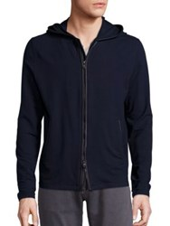 John Varvatos Long Sleeve Zip Front Knit Hoodie Marine
