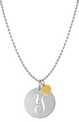Women's Jane Basch Designs Personalized Script Initial Disc Pendant Necklace Silver Y