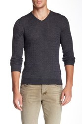 John W. Nordstrom Cable Merino Wool V Neck Sweater Gray