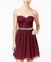 Speechless Juniors' Embellished Lace Bodice Fit And Flare Dress Raisin