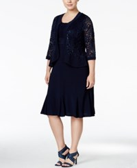 R And M Richards Plus Size Ruffled A Line Dress Metallic Lace Jacket Navy