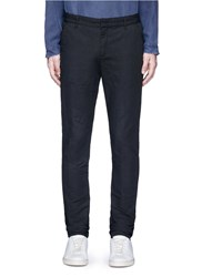 'F.B.' Slim Fit Cotton Linen Pants Black