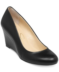 Jessica Simpson Sampson Wedge Pumps Women's Shoes Black Smooth