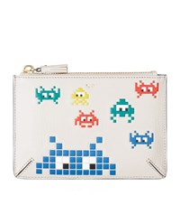 Anya Hindmarch Space Invaders Loose Pocket Pouch Female Grey White