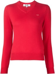 Comme Des Gara Ons Play Embroidered Heart V Neck Sweater