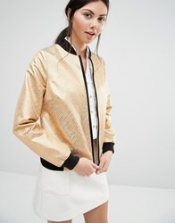 Helene Berman Bomber Jacket With Gold Metallic Zebra Stripes Gold Beige