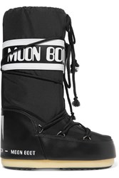 Moon Boot Pique Shell And Faux Leather Snow Boots Black