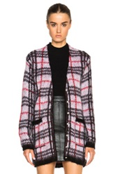 Versus Plaid Print Cardigan In Black Red Checkered And Plaid