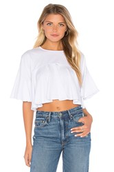 Kendall Kylie Flutter Crop Top White