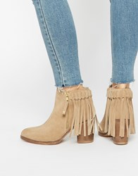 Asos Rhymes Suede Western Fringe Ankle Boots Sand
