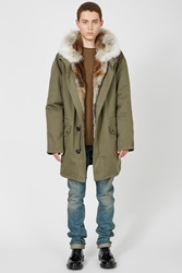 Yves Salomon Classic Long Army Parka Light Khaki