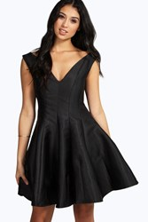 Boohoo Claire Sateen Fit And Flare Dress Black