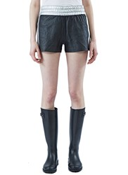 Saint Laurent Metallic Leather Slouch Shorts Black