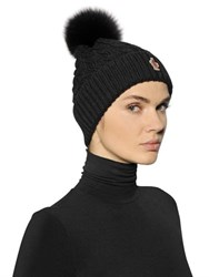 Moncler Grenoble Wool Cable Knit Hat W Fox Fur Pom Pom