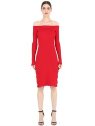 Cameo Off Shoulder Knit Dress W Buttons