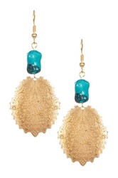 Turquoise Nugget Art Deco Peacock Feather Charm Vintage Earrings Blue