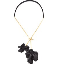 Marni Flower Leather Necklace Black