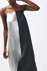 Boutique Lame Panelled Slip Dress By Silver