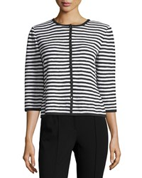 St. John Santana Striped 3 4 Sleeve Cardigan Black Bright White