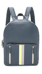 Ben Minkoff Waxy Leather Bondi Backpack With Stripe Ocean Blue