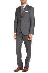 David Donahue Men's Big And Tall 'Ryan' Classic Fit Wool Suit Grey