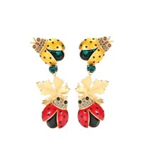 Dolce And Gabbana Crystal Embellished Clip On Earrings Multicoloured