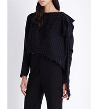 Anglomania Cropped Checked Cotton Top Black