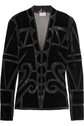 Temperley London Ashina Velvet And Mesh Top Black