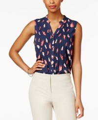 Charter Club Petite Butterfly Print Sleeveless Shirt Only At Macy's Intrepid Blue