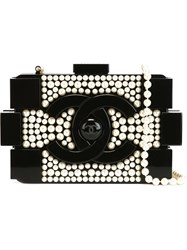 Chanel Vintage 'Brick' Pearl Clutch Black