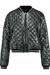 Markus Lupfer Charlotte Metallic Quilted Lam And Eacute Bomber Jacket Blue