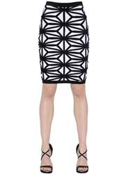 Dsquared Geometric Wool Blend Jacquard Knit Skirt