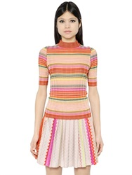 Missoni High Collar Ribbed Wool Knit Top