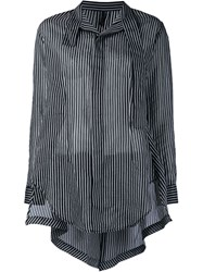 Unravel Band Collar Striped Shirt Black