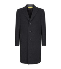 Canali Kei Herringbone Wool Overcoat Male Dark Grey