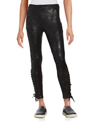 Highline Collective Faux Leather Lace Up Leggings Black