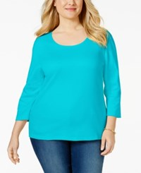 Karen Scott Plus Size Scoopneck T Shirt Only At Macy's New Teal